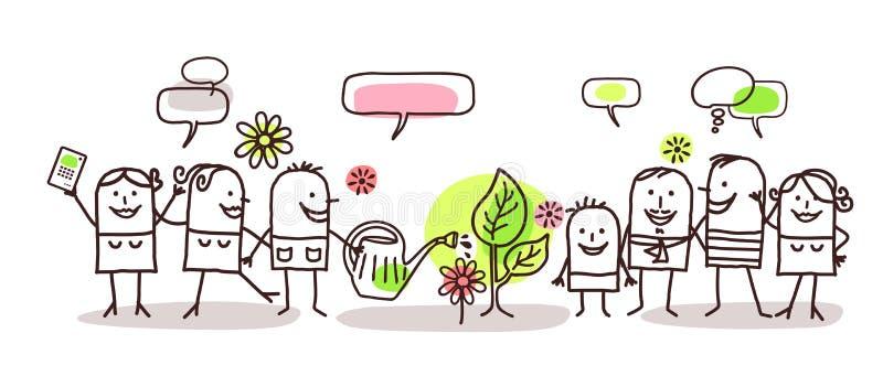 Tiempo de la gente y de primavera de la historieta ilustración del vector