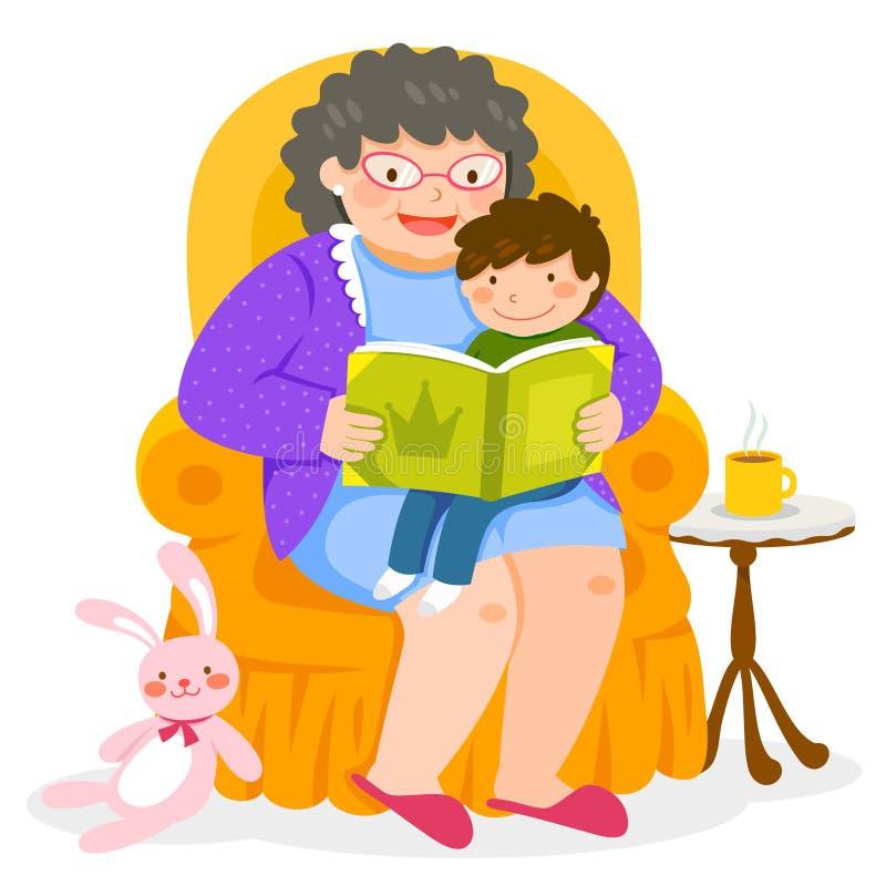 Tiempo de la historia con la abuela stock de ilustración