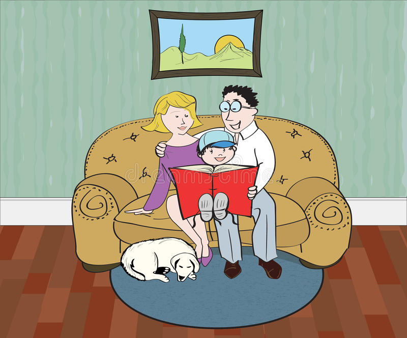 Tiempo de la lectura de la familia stock de ilustración