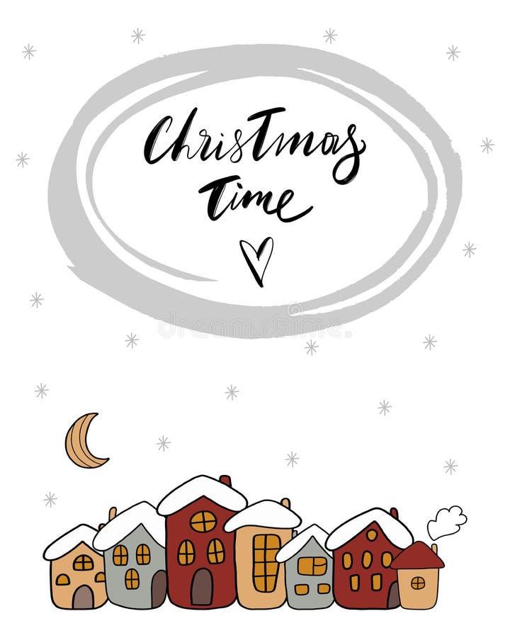 Tiempo de la Navidad - ejemplo del bebé de las casas lindas de una historieta con la nieve y la media luna, estación del invierno ilustración del vector