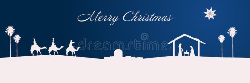 Tiempo de la Navidad - escena de la natividad stock de ilustración