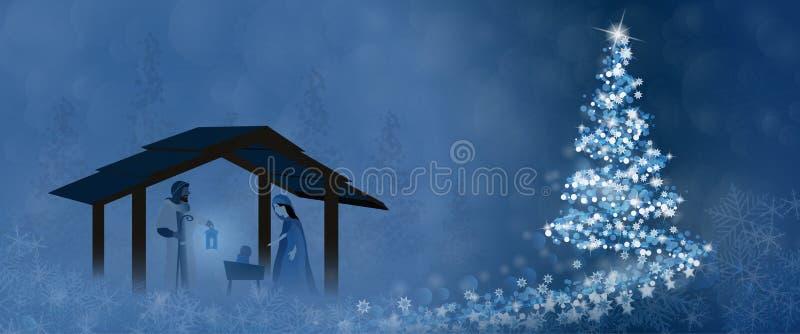 Tiempo de la Navidad - escena de la natividad ilustración del vector