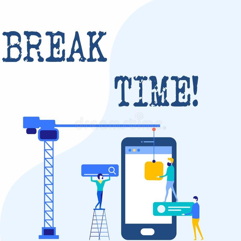 Tiempo de la rotura de la escritura del texto de la escritura Tiempo programado del significado del concepto en que los trabajado stock de ilustración