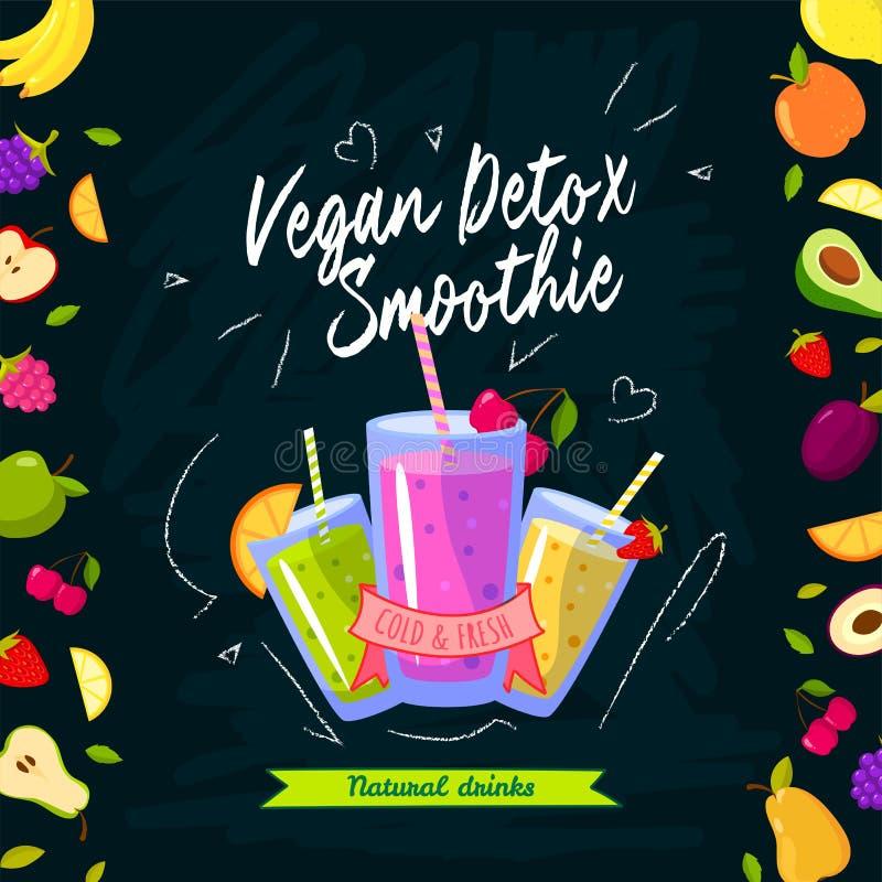 Tiempo de los Smoothies Ejemplo del vector con los diversos smoothies y frutas stock de ilustración