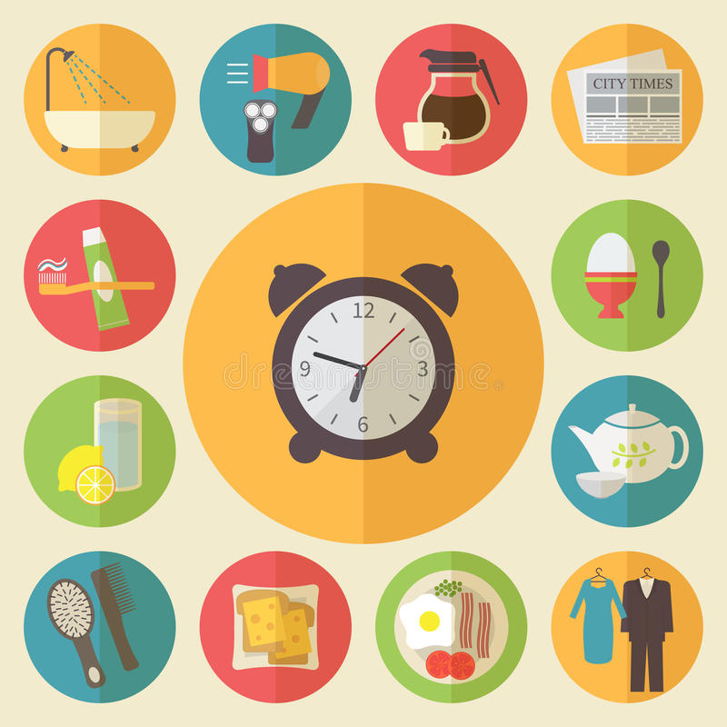 Tiempo de mañana, iconos del empleo de la mañana fijados plano stock de ilustración