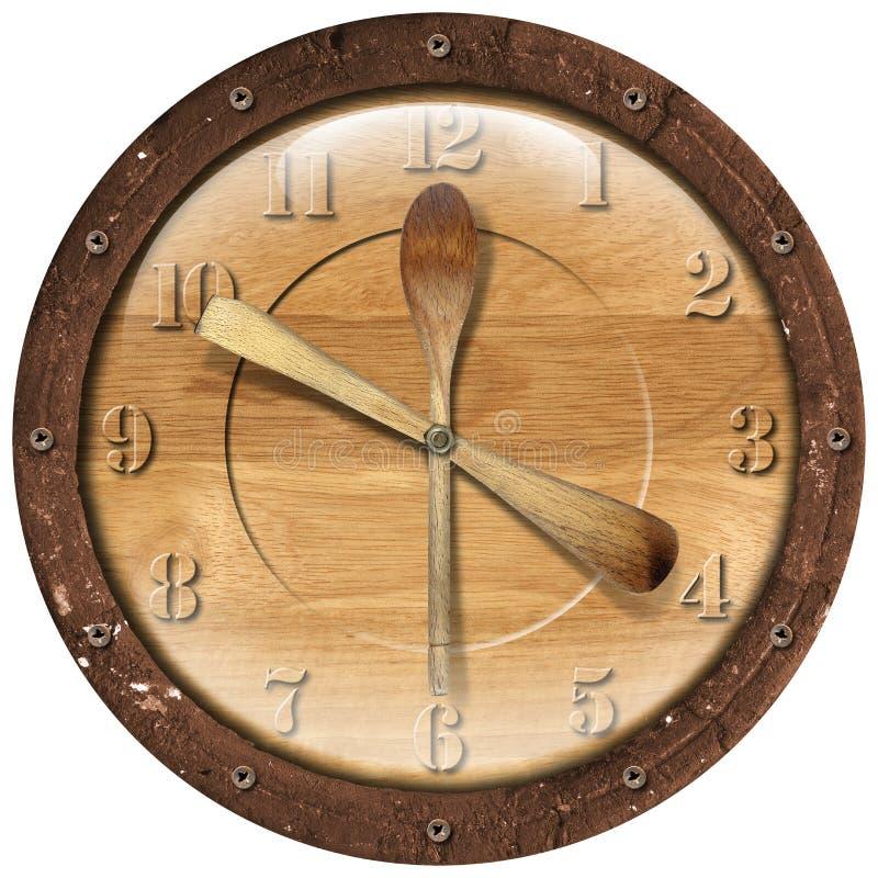 Tiempo de madera del almuerzo del reloj stock de ilustración