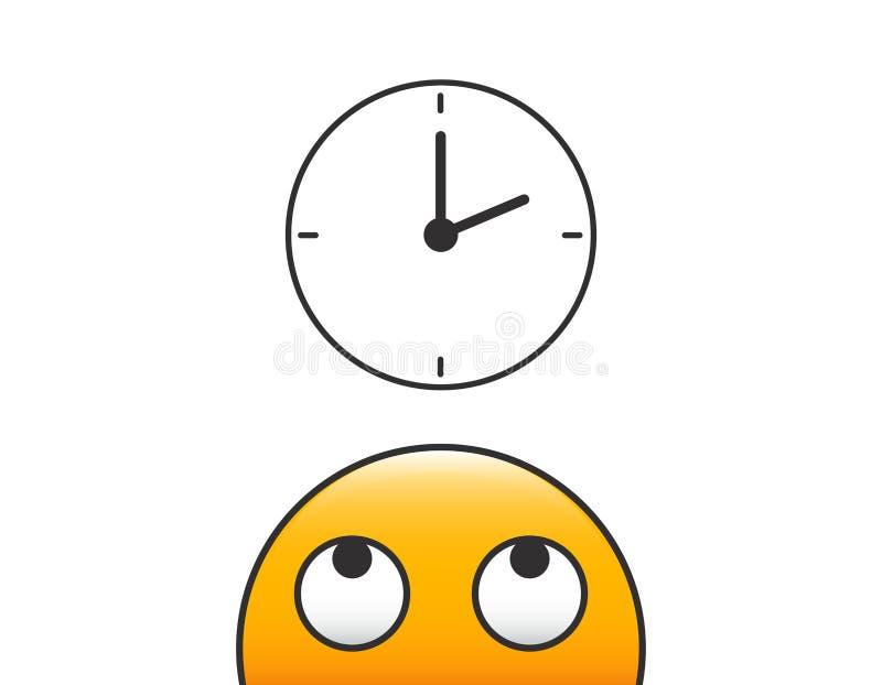 Tiempo de mirada principal de la persona del carácter del Emoticon en Icono del reloj Ejemplo del vector con el fondo transparent ilustración del vector