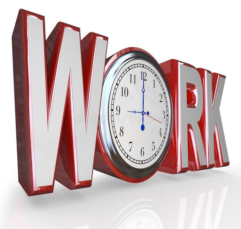 Tiempo de palabra del reloj del trabajo para conseguir de trabajo en Job Career stock de ilustración