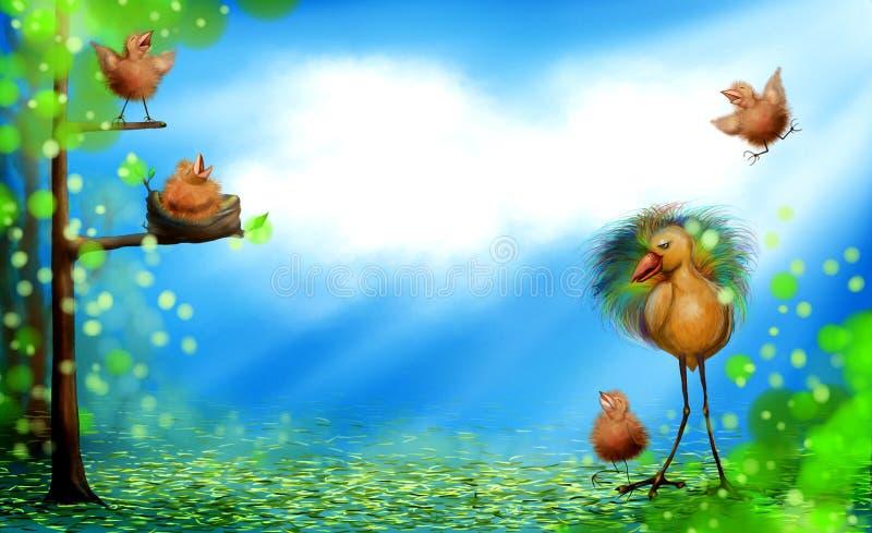 Tiempo de primavera con los pájaros de bebé libre illustration