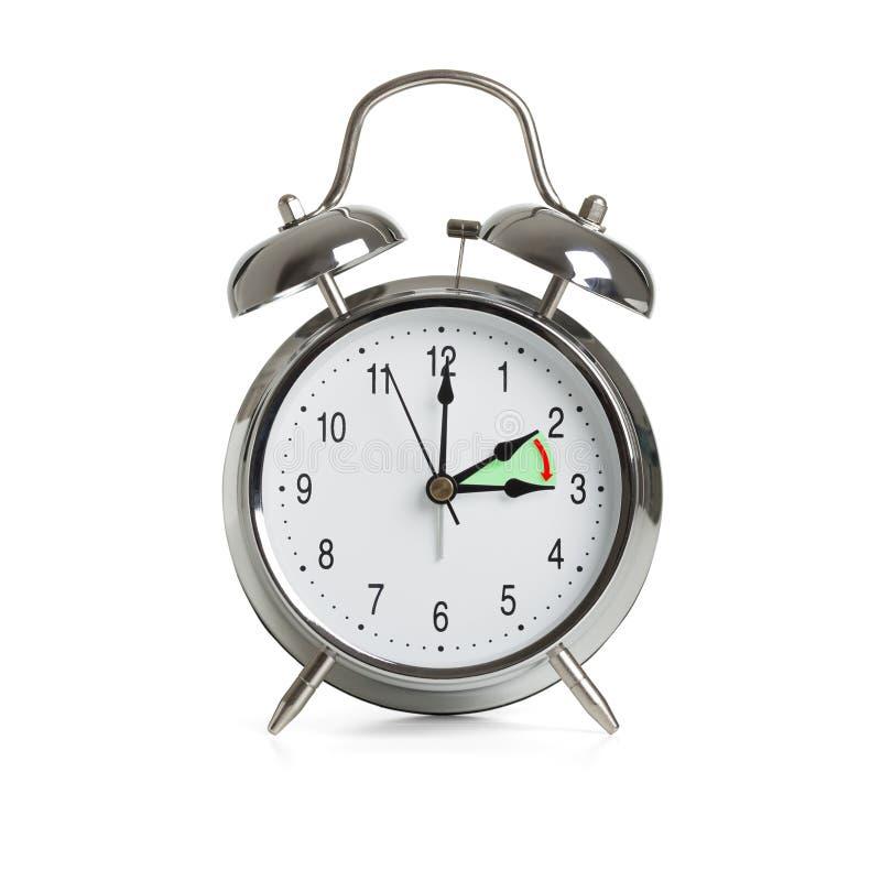 Tiempo de reloj que cambia al tiempo de verano aislado en el fondo blanco imagen de archivo