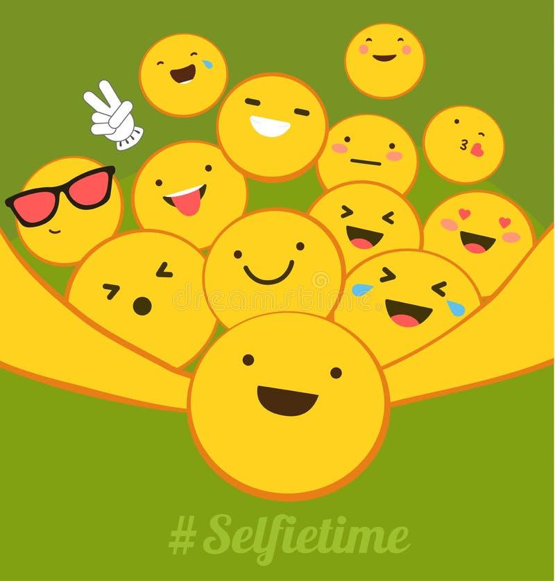 Tiempo de Selfie El amarillo sonríe con diversas emociones que toman un selfie Diseño plano para el establecimiento de una red so ilustración del vector