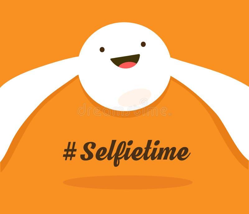 Tiempo de Selfie El smiley blanco que sonríe y hace selfies La cara alegre coloreada que toma un selfie Ejemplo del vector encend stock de ilustración