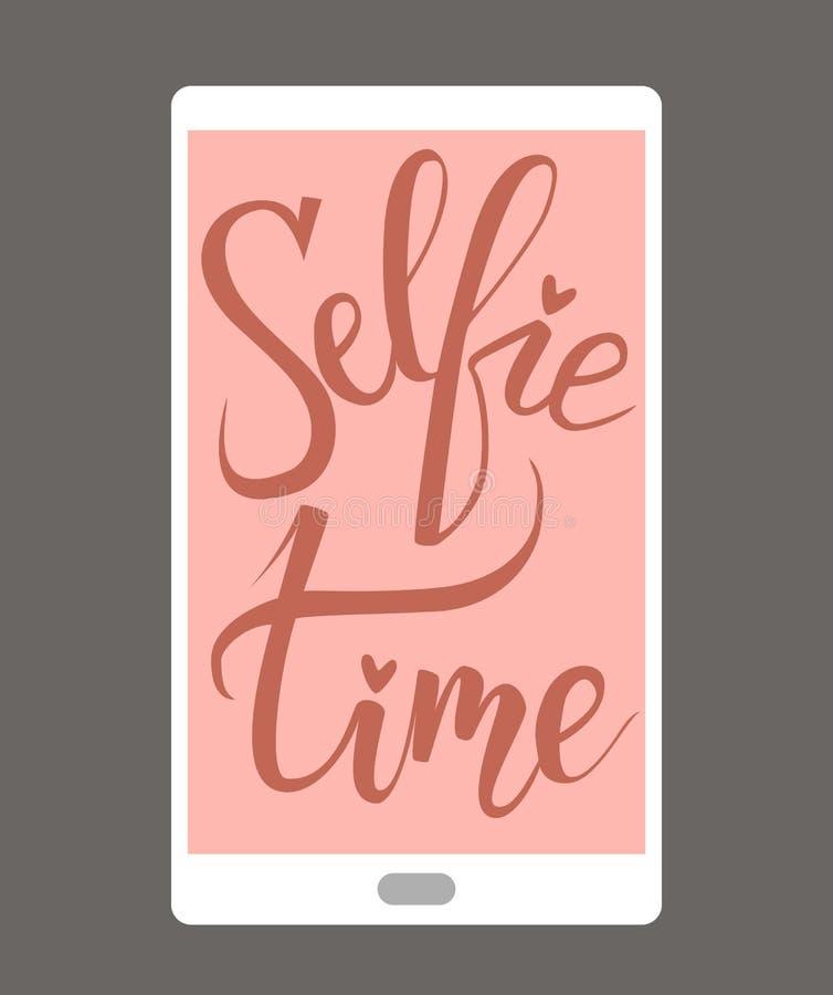 Tiempo de Selfie Letras de la mano del cepillo stock de ilustración