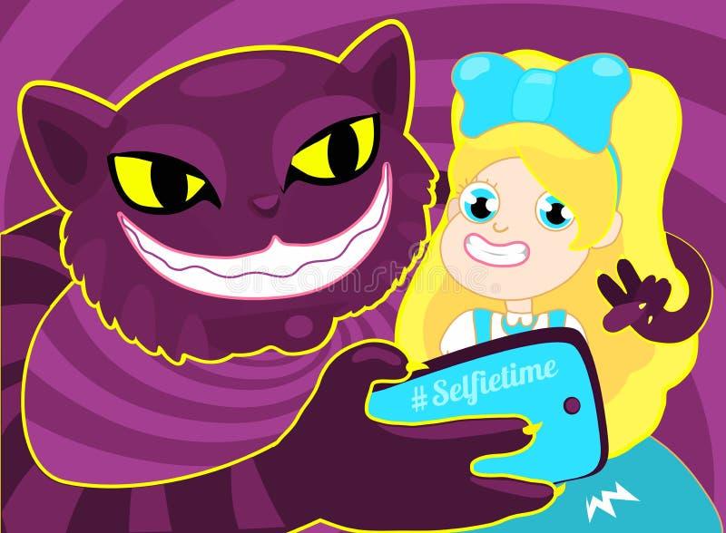 Tiempo de Selfie Muchacha que toma el selfie con el gato El ejemplo del concepto de una muchacha rubia alegre Alicia que toma un  ilustración del vector