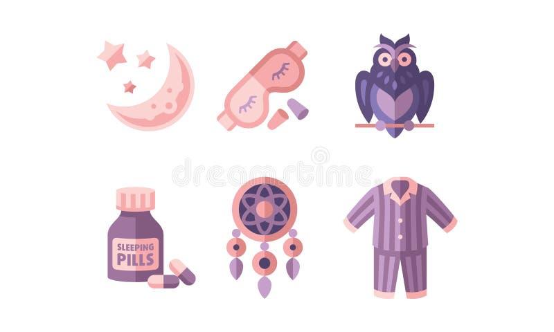 Tiempo de sueño, objetos para el sueño, luna y estrellas, máscara, búho, botlle de píldoras, dreamcatcher, pijamas, vector plano  ilustración del vector