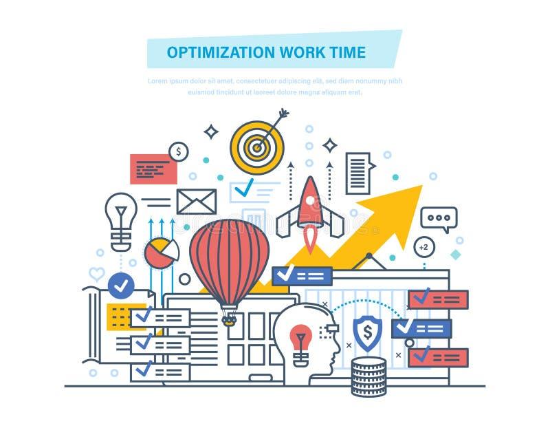 Tiempo de trabajo de la optimización Gestión de tiempo, día de planificación del trabajo, control del trabajo ilustración del vector