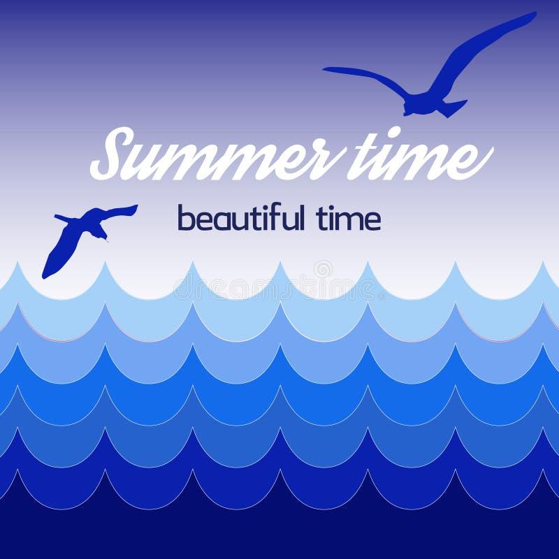 Tiempo de verano del cartel, tiempo hermoso, ondas azules del mar, cielo con los pájaros en fondo stock de ilustración