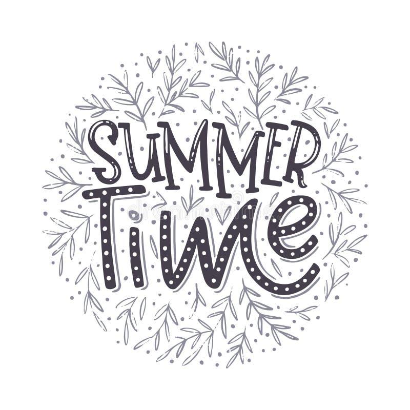 Tiempo de verano - diseño tipográfico dibujado mano stock de ilustración