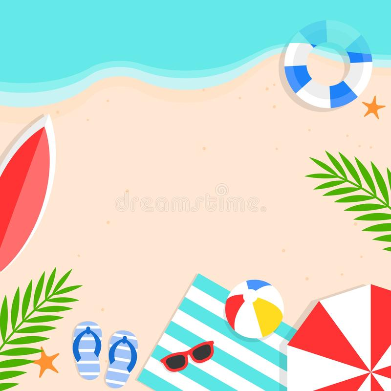 Tiempo de verano, ejemplo del vector del fondo de la playa del verano ilustración del vector