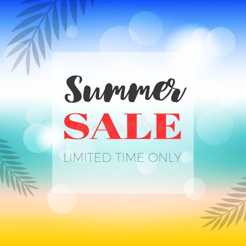 Tiempo de verano, ejemplo del vector del fondo de la playa del verano stock de ilustración