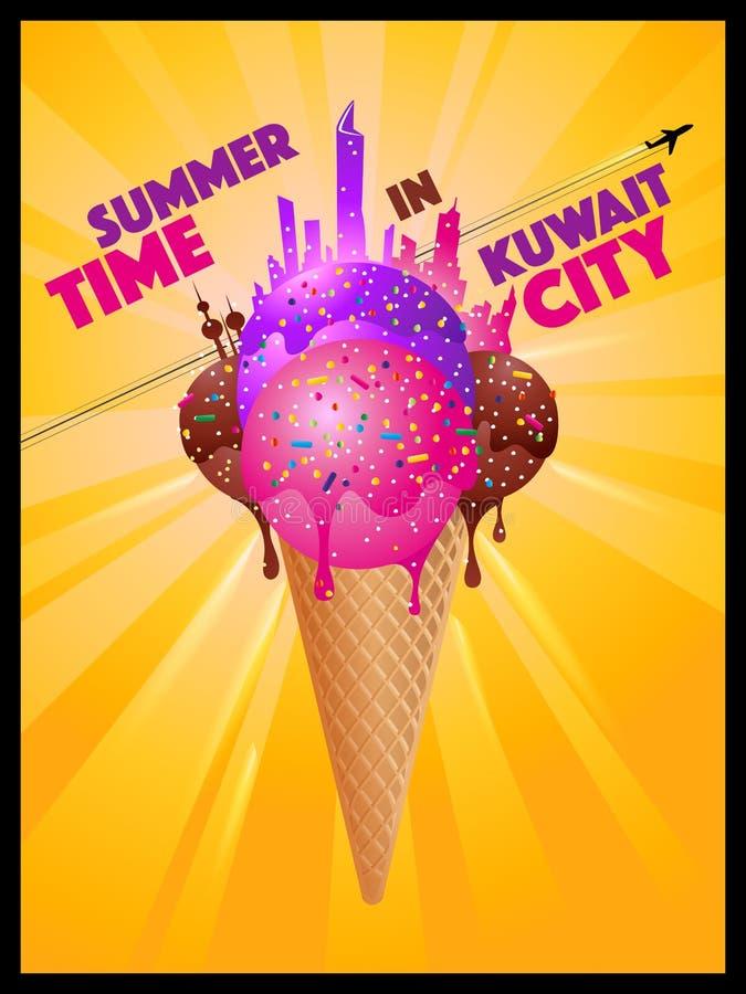 Tiempo de verano en la ciudad de Kuwait - siluetas de fusión de la ciudad del helado stock de ilustración