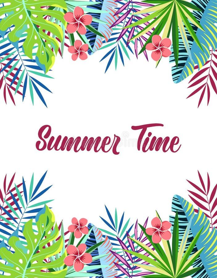 Tiempo de verano floral del marco ilustración del vector