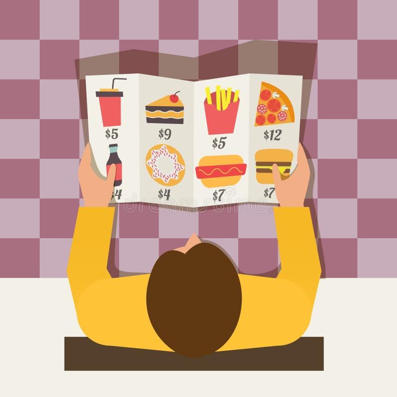 Tiempo del almuerzo Comida que ordena del hombre en café de los alimentos de preparación rápida stock de ilustración