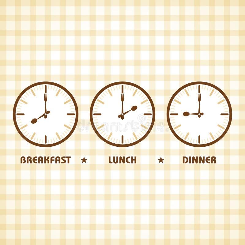 Tiempo del almuerzo y de cena del desayuno stock de ilustración
