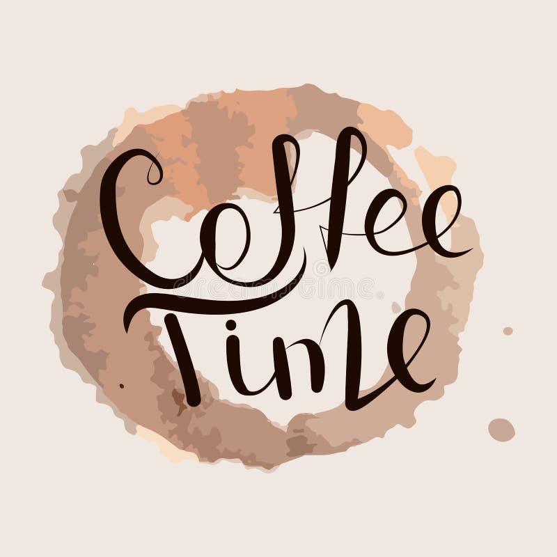 Tiempo del café de la caligrafía ilustración del vector
