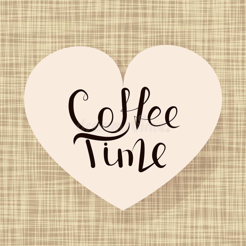 Tiempo del café de la caligrafía stock de ilustración