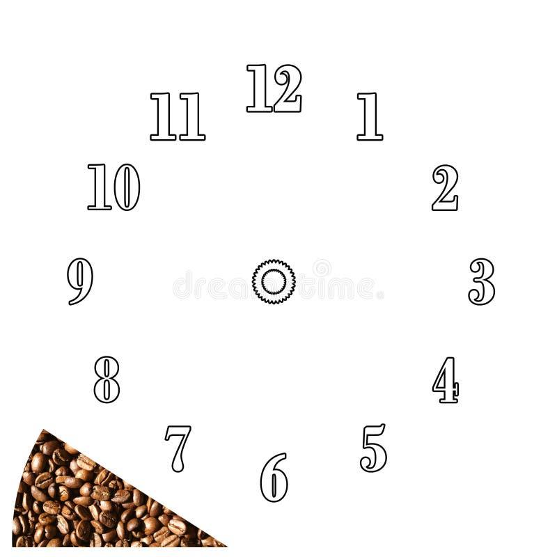 Tiempo del café - plantilla del reloj stock de ilustración