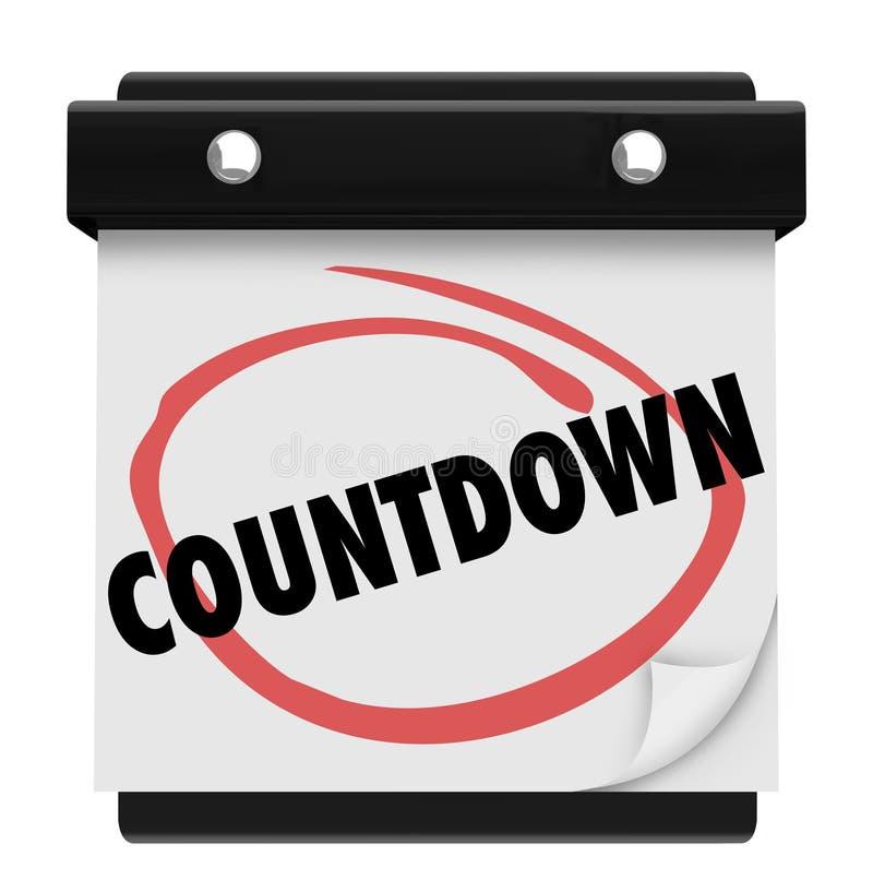 Tiempo del calendario de la palabra de la cuenta descendiente que cuenta esperar de la anticipación libre illustration