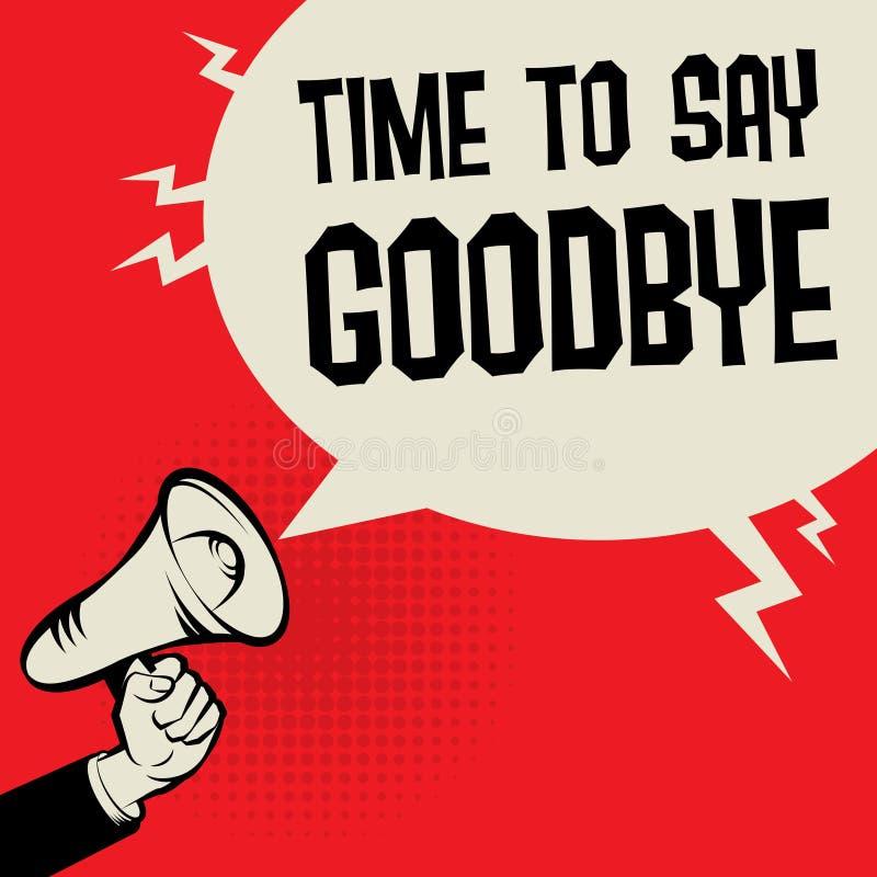 Tiempo del concepto del negocio de la mano del megáfono para decir adiós libre illustration