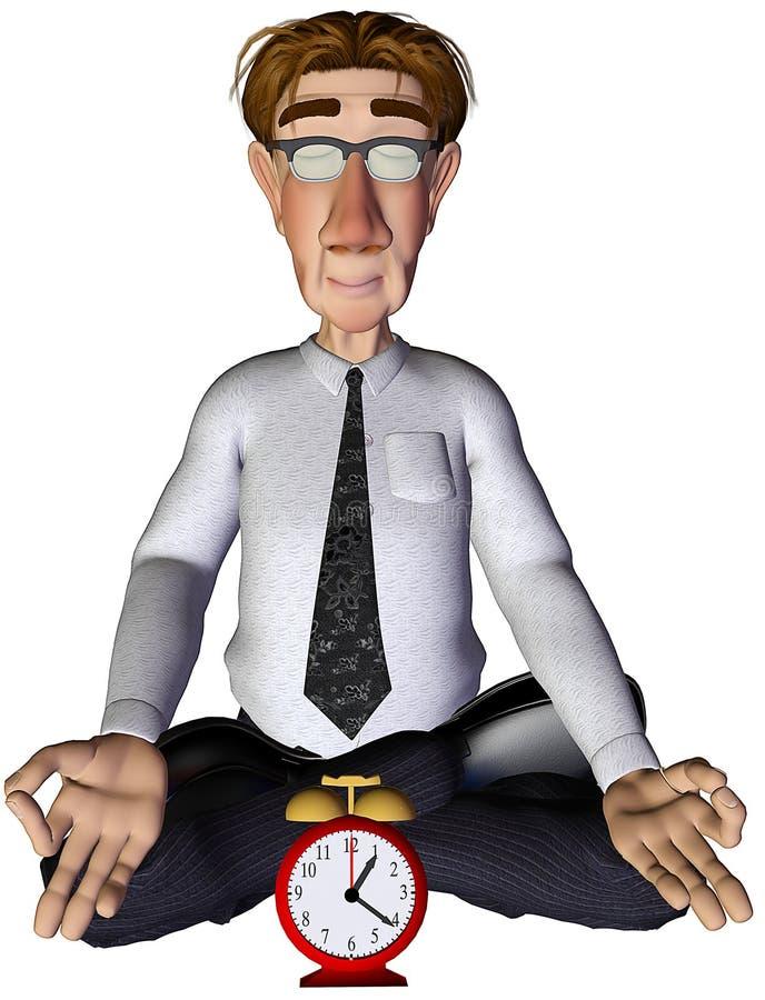 tiempo del hombre de negocios 3d para la yoga stock de ilustración