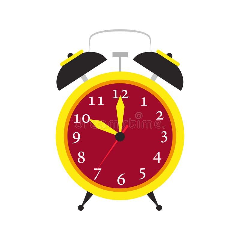 Tiempo del icono del vector de la alarma del reloj aislado Despierte el ejemplo del fondo stock de ilustración