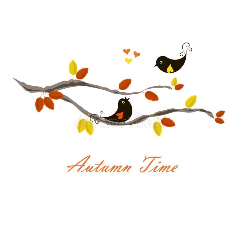 Tiempo del otoño de la bandera de la tipografía, pájaros negros en rama con la naranja y hojas amarillas, corazones ilustración del vector