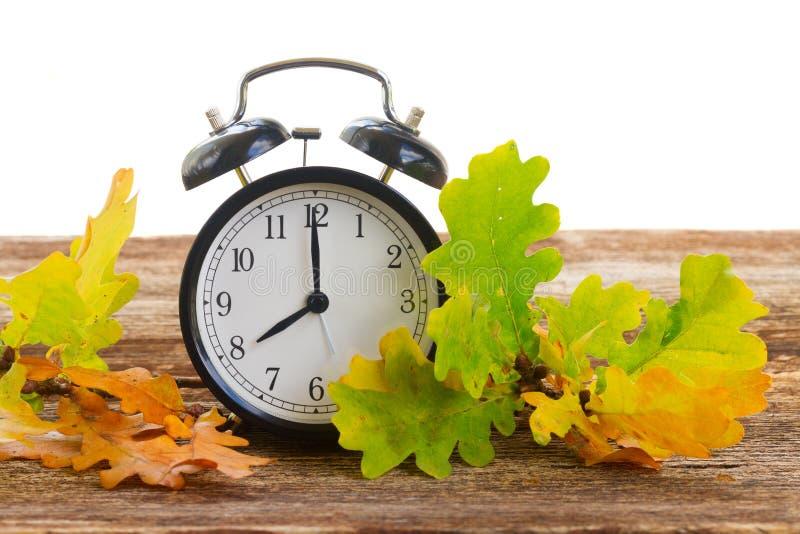 Tiempo del otoño - hojas de la caída con el reloj imagen de archivo libre de regalías