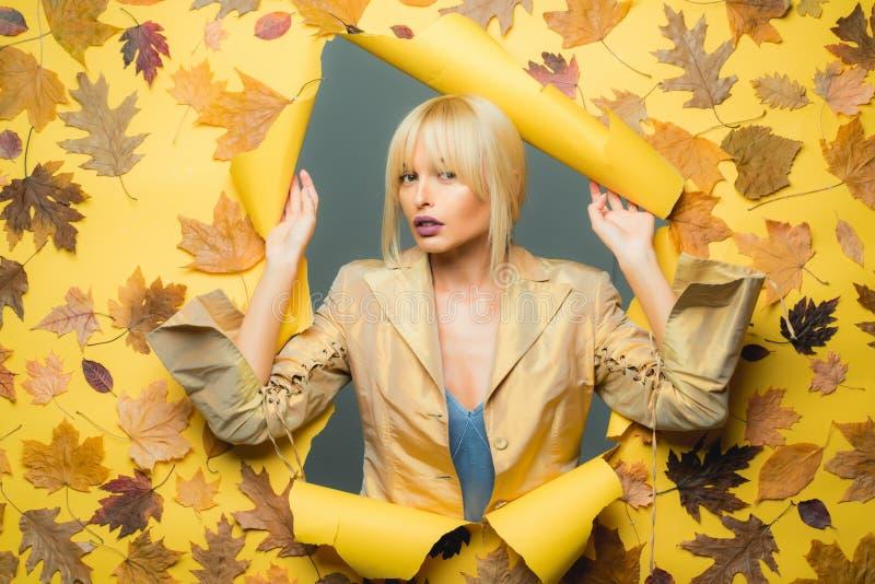 Tiempo del otoño para la venta de la moda Otoño colorido y hoja seca Tendencia y voga del otoño Follaje otoñal Otoño feliz fotografía de archivo