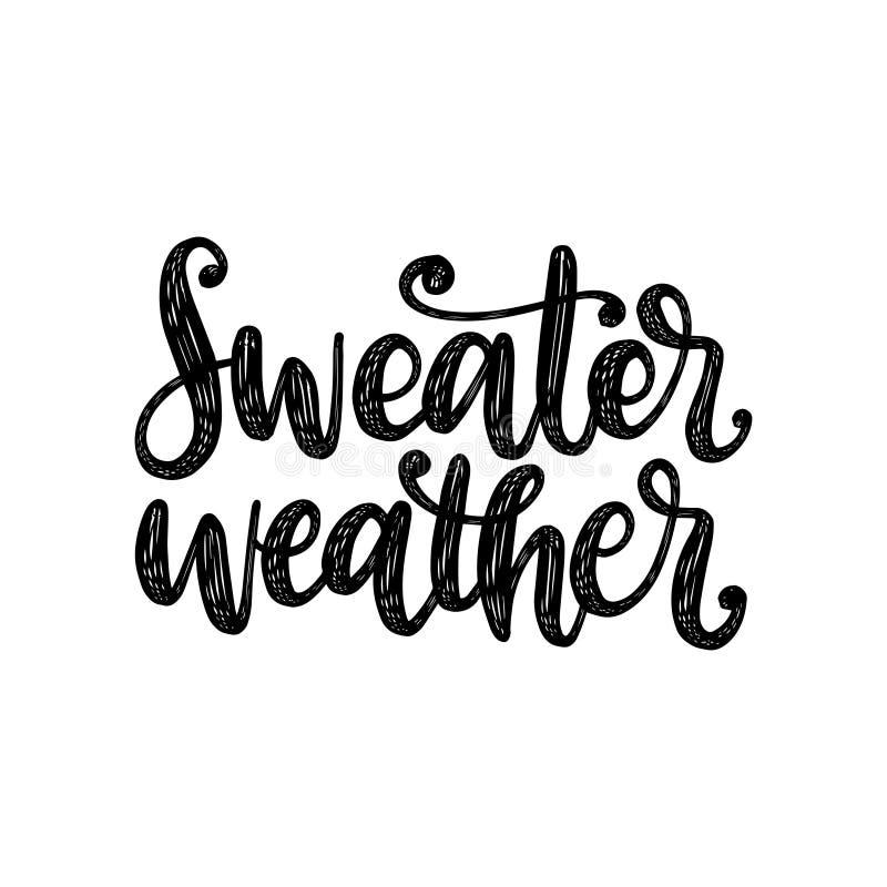 Tiempo del suéter, letras de la mano en el fondo blanco Vector el ejemplo para la invitación de la acción de gracias, tarjeta de  stock de ilustración