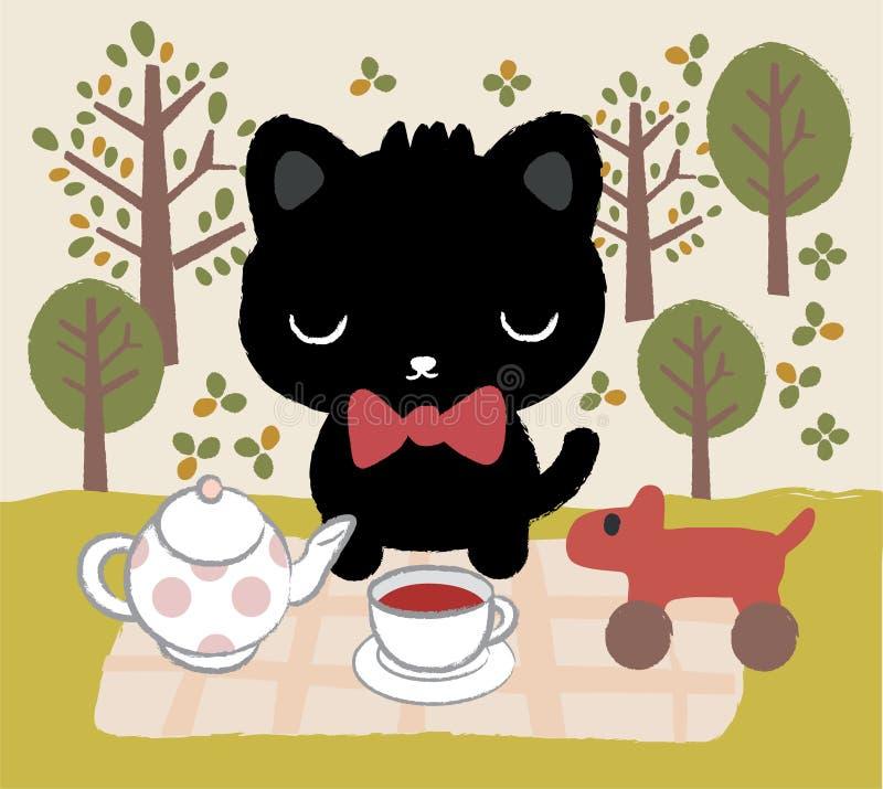 Tiempo del té del gato ilustración del vector