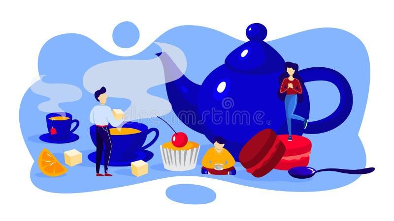 Tiempo del té Gente con la taza de bebida y de postre ilustración del vector