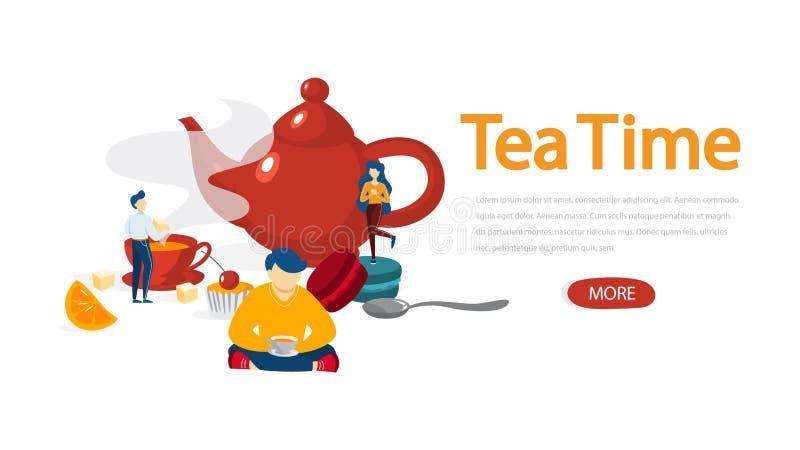 Tiempo del té Gente con la taza de bebida y de postre stock de ilustración