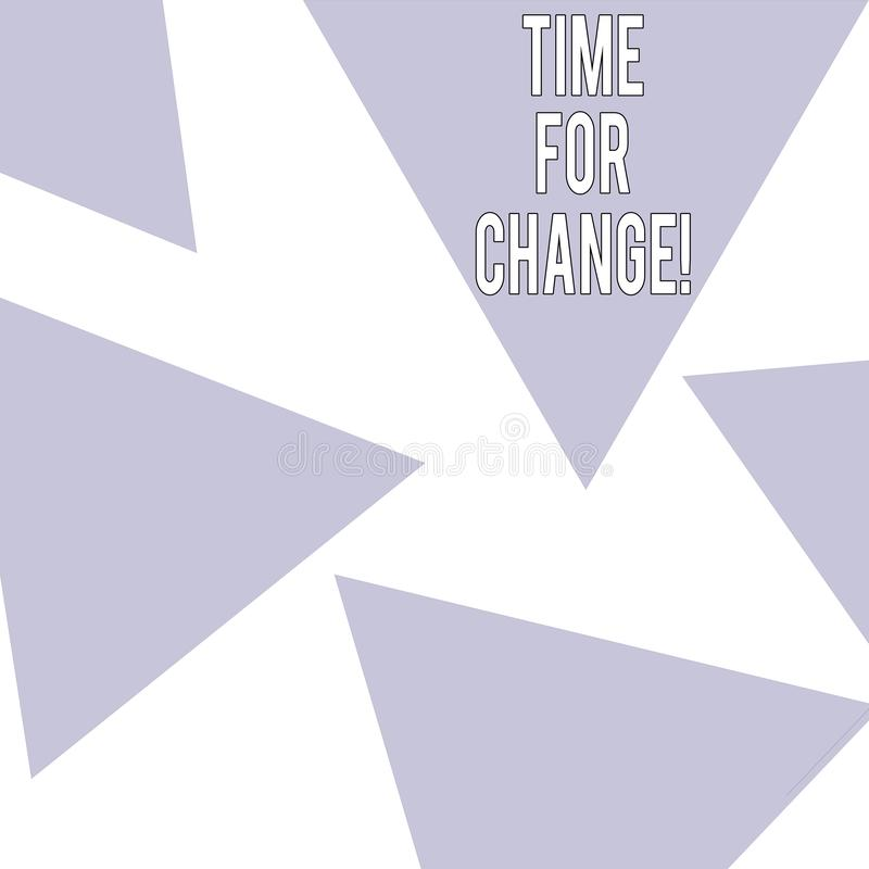 Tiempo del texto de la escritura de la palabra para el cambio El concepto del negocio para la transición crecer para mejorar tran ilustración del vector