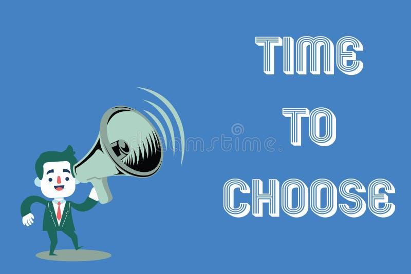 Tiempo del texto de la escritura de la palabra para elegir Concepto del negocio para juzgar los méritos de opciones múltiples y s imagen de archivo libre de regalías