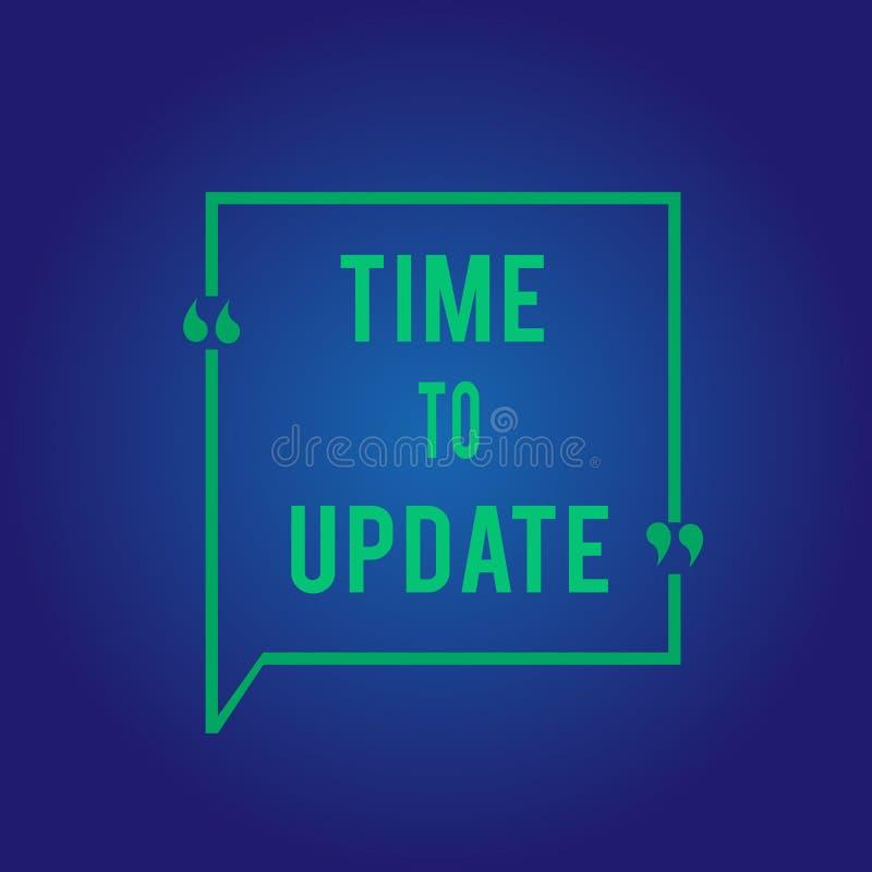 Tiempo del texto de la escritura de la palabra para ponerse al día Concepto del negocio para información de última hora sobre una foto de archivo libre de regalías