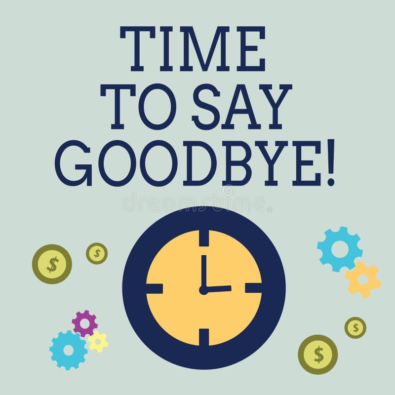 Tiempo del texto de la escritura para decir adiós Momento de la separación del significado del concepto que deja a desintegración stock de ilustración