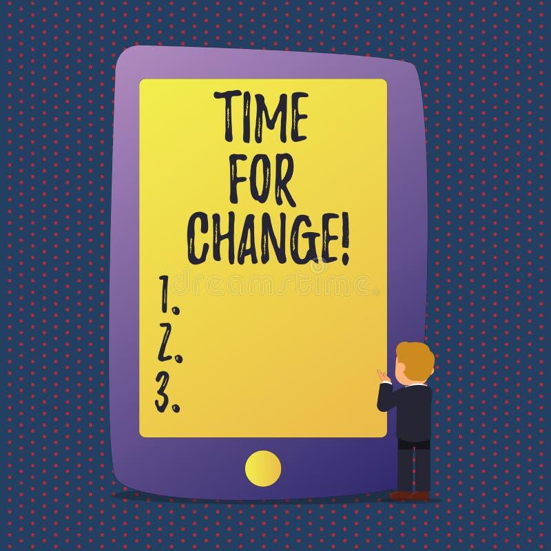 Tiempo del texto de la escritura para el cambio La transición del significado del concepto crece para mejorar transforma para con ilustración del vector