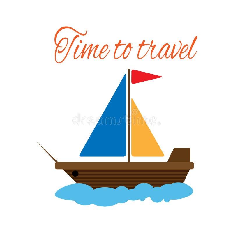 Tiempo del velero y del texto para viajar Ilustraci?n del vector stock de ilustración