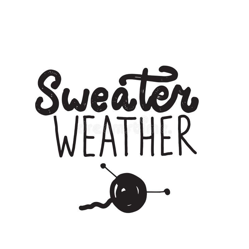 Tiempo divertido del suéter de la cita Letras escritas mano libre illustration