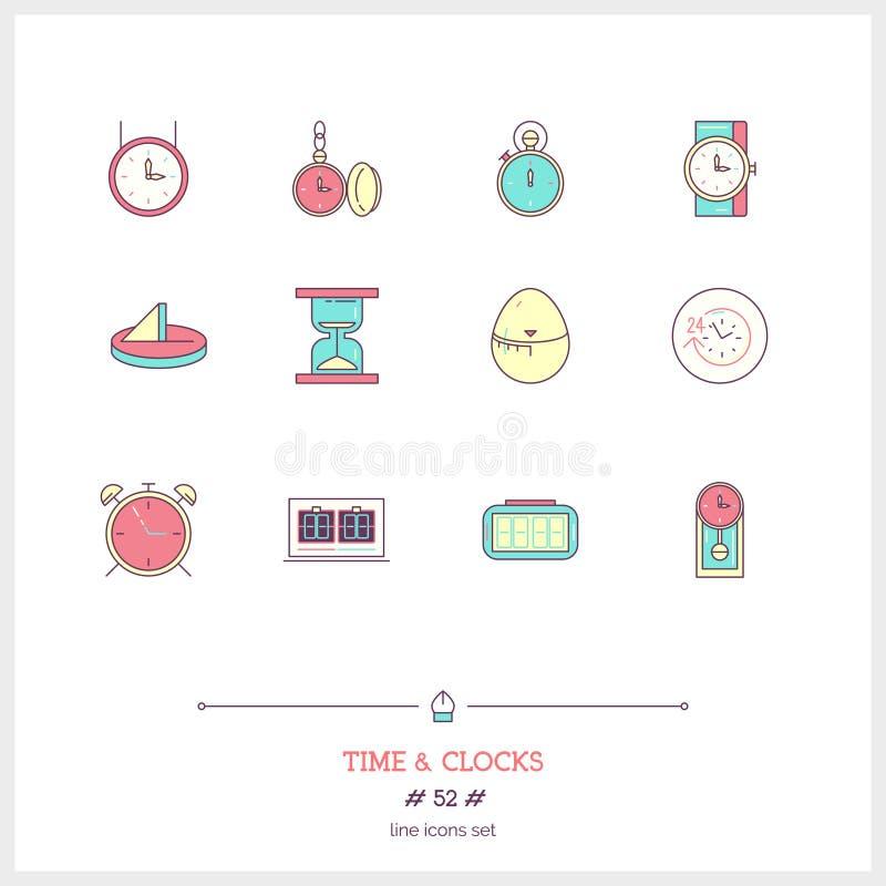 Tiempo e iconos del color de los relojes fijados Línea fina iconos del arte stock de ilustración